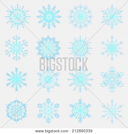 Separate Snowflakes Doodles Icon Vector Rustic Christmas Clipart New Year Snow Crystal Illustration
