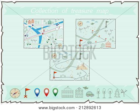 Collection Of Maps Treasure Map Baby Map Illustration Of The Winter Maps To Find Treasure Treasure M