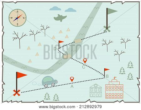 Map Of Treasure Island Treasure Map Old Map Baby Map Illustration Of The Winter Maps To Find Treasur