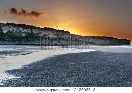 Sunset On Omaha Beach In Normandy France
