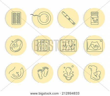 Pregnancy and childbirth. Obstetrics and gynecology vector line icons set. Preparing a woman for pregnancy and labor. Health medical and care newborn. Diagnostic equipment, medical tools. Motherhood. poster