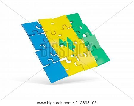 Puzzle Flag Of Saint Vincent And The Grenadines Isolated On White