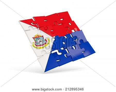 Puzzle Flag Of Sint Maarten Isolated On White