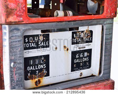 Old Rusty American Gas Pump Panel.