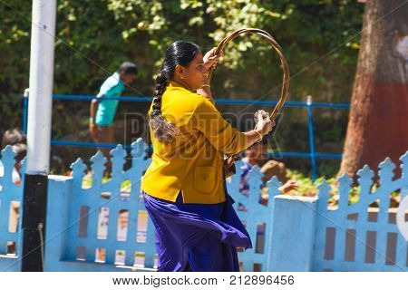 OOTY, TAMIL NADU, INDIA, 20 March 2015 : Historic railway signal .In railway signalling, a token hoop is a physical object which a train driver is required to have or see before entering onto a particular section of single track. Token system is commonly