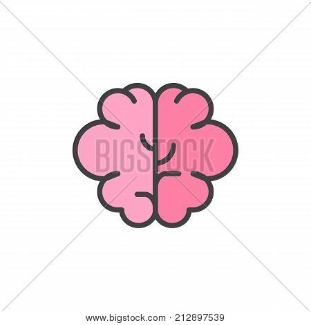 Brain filled outline icon, line vector sign, linear colorful pictogram isolated on white. Intellect symbol, logo illustration. Pixel perfect vector graphics