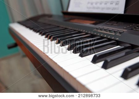 Keys Electronic Synthesizer Close Up. Musical Instruments