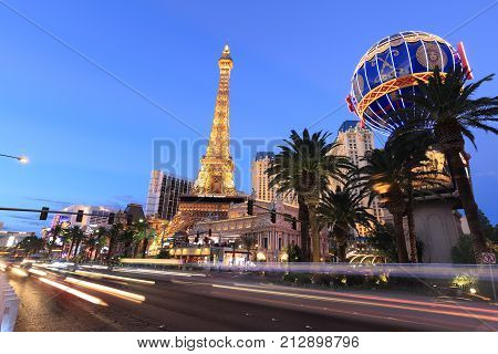 Las Vegas USA - September 12 2017: Las Vegas Boulevard - the Las Vegas Strip. Many of the largest hotel casino and resort properties in the world are located on the Las Vegas Strip.