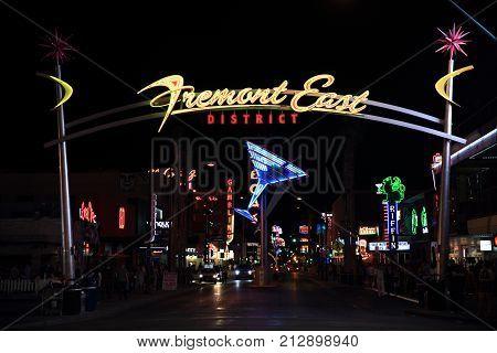 Las Vegas USA - September 12 2017: Fremont street down town Las Vegas. Fremont Street had Las Vegas' first hotel.