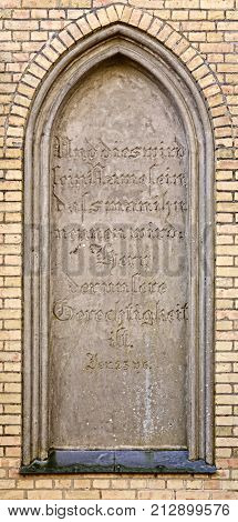 Blind Window Of The Burial Chapel In Guetzkow, Mecklenburg-vorpommern, Germany With Bible Passage -