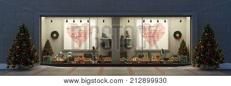 Retail store christmas showcase window with many shoes at shopping center (3D Rendering)