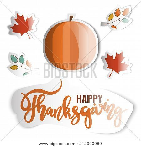 Happy Thanksgiving. Holiday stickers set. Stock vector