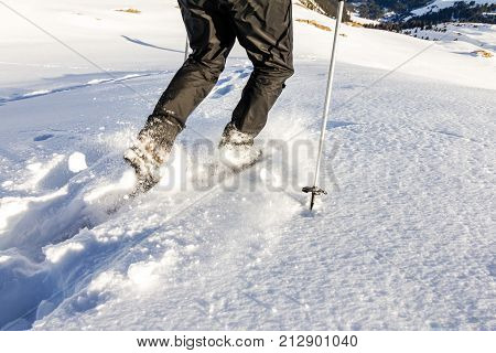 Man walking downhill through deep snow with snoeshoes and hiking sticks.