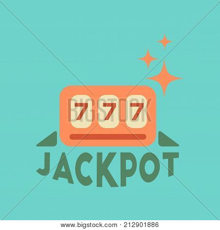 flat icon on stylish background poker jackpot Lucky seven