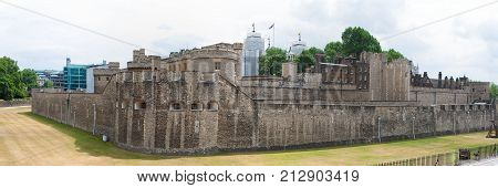 Tower of London, London, England, panorama of historic fortress along River Thames