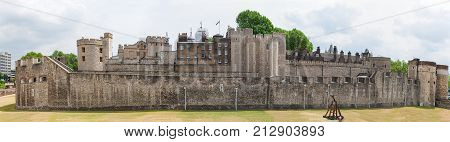 Tower of London, England, historic fortress and prison along River Thames