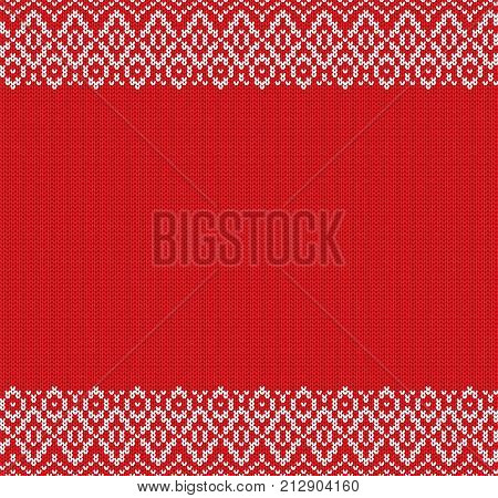 Knit geometric ornament design with empty space for text. Christmas seamless pattern. Knitted winter sweater texture. Vector illustration.