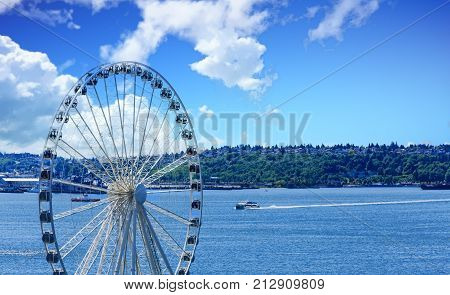 Seattle Ferris Wheel and Blue Puget Sound