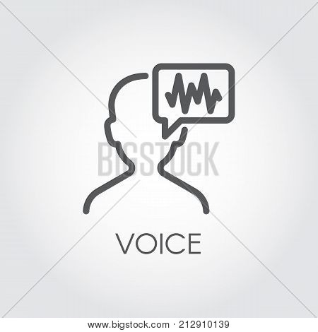 Voice identity outline icon. Recognize audio system sign. Voiceover symbol. Silhouette of man and sound wave pictograph drawing in line style. Vector illustration for various design needs