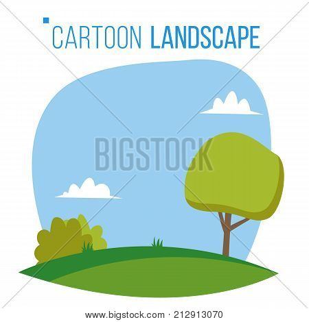 Cartoon Landscape Background Vector. Spring, Summer Season Meadow Landscape. Tree, Green Field, Clouds. Cartoon Flat
