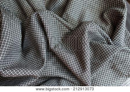Crumpled Grey Viscose Fabric With Geometric Pattern