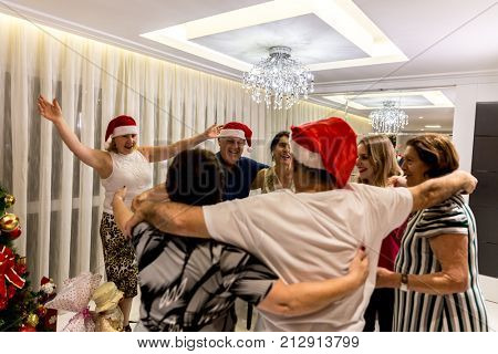 Family celebrating New Year at home