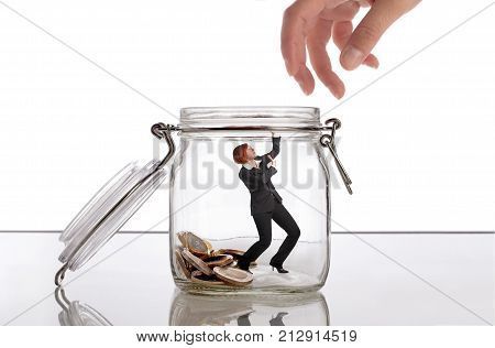 Woman protecting her money savings concept image