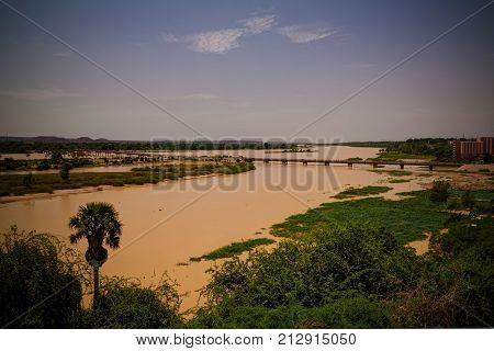 Aerial view to Niger river and Niamey city Niger