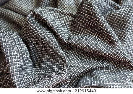 Rippled Grey Viscose Fabric With Geometric Print