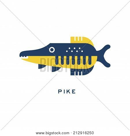 Pike, freshwater fish geometric flat style design vector Illustration on a white background