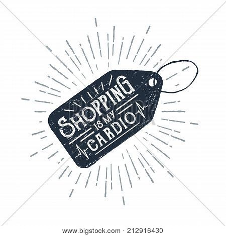 Hand drawn price tag textured vector illustration and