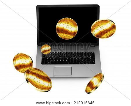 3D Illustration of Golden Bitcoin being inserted into coin acceptor on a laptop
