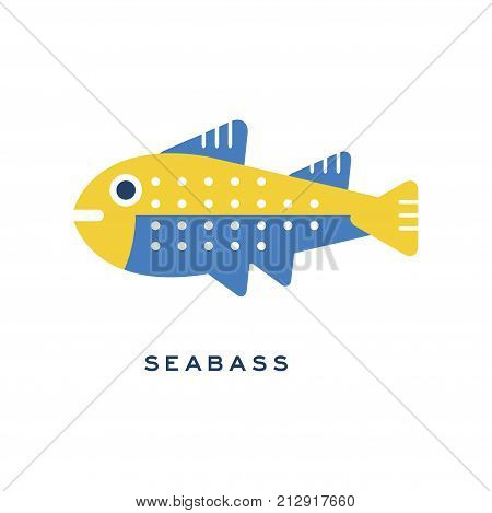 Seabass, sea fish geometric flat style design vector Illustration on a white background