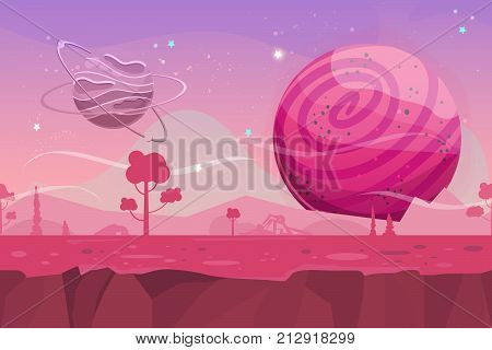 Seamless cartoon vector landscape. Vector endless background with ground planet trees stars and sky layers. Fantasy sci-fi background for UI Game. Illustration of a cartoon sci-fi alien planet landscape.