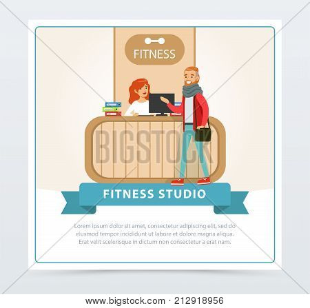 Reception desk in a fitness club, female receptionist and client, fitness studio banner flat vector element for website or mobile app with sample text
