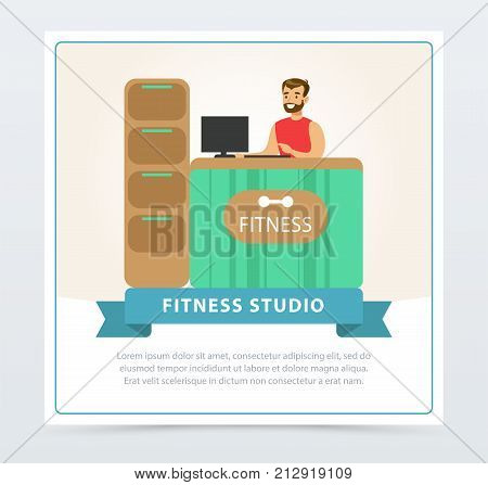 Fitness club reception desk with male receptionist, fitness studio banner flat vector element for website or mobile app with sample text