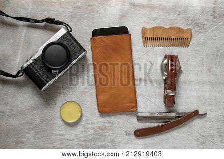 Still life of casual man. Overhead of essentials modern man.