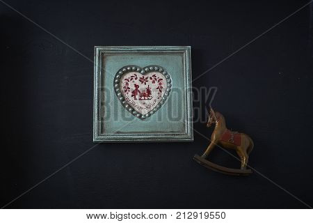 set for needlework, frame with embroidery and thread