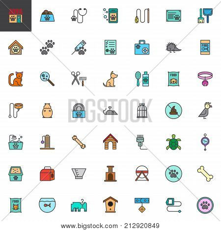 Pet shop accessories filled outline icons set, colorful vector symbol collection, Pictogram pack. Signs, logo illustration. Set includes icons as pets, animal, dog, aquarium, cat, hamster, veterinary