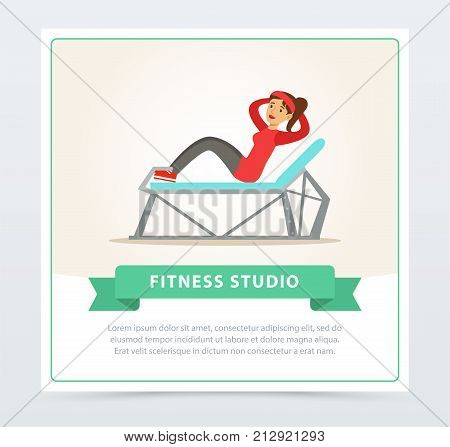 Young woman doing press exercise on a bench, fitness studio banner flat vector element for website or mobile app with sample text