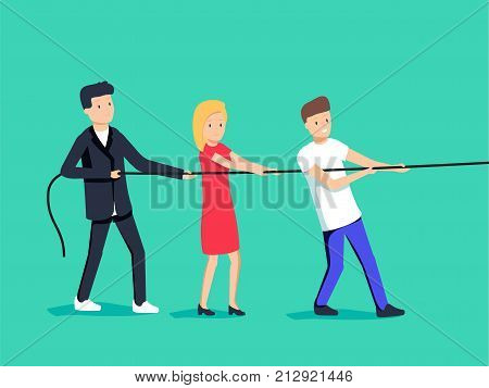 Vector illustration in trendy flat style and colors - teamwork concept - people pulling rope - business competition and challenge - banner and infographics design template