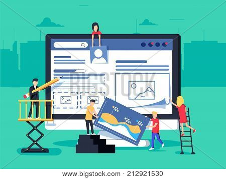 small people character decorated web business technology. vector concept illustration flat design. Web design and development. Site under construction. A team of young professionals