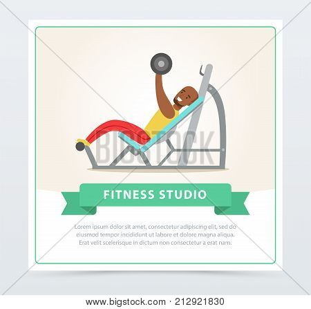 Young black man exercising chest with barbell on bench press, fitness studio banner flat vector element for website or mobile app with sample text