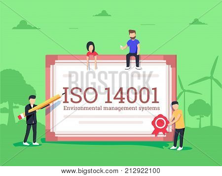ISO 14001 environmental management system certification standard compliance. Illustration of environmentally friendly manufactoring certificate. Green background and tree on the field,