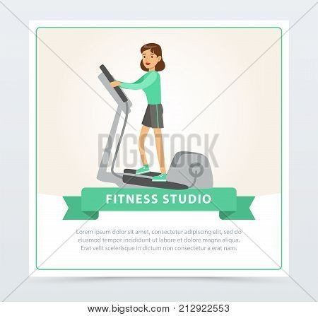 Young woman working out using elliptical trainer, fitness studio banner flat vector element for website or mobile app with sample text