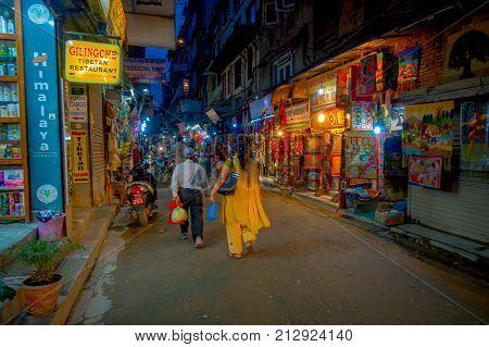 THAMEL, KATHMANDU NEPAL - OCTOBER 02, 2017: Night view of streets of Thamel. Thamel is a commercial neighbourhood in Kathmandu, the capital of Nepal. One of the popular tourist attraction in Kathmandu.
