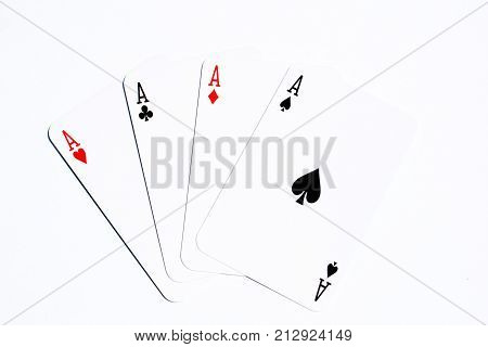 poker card four aces on white background
