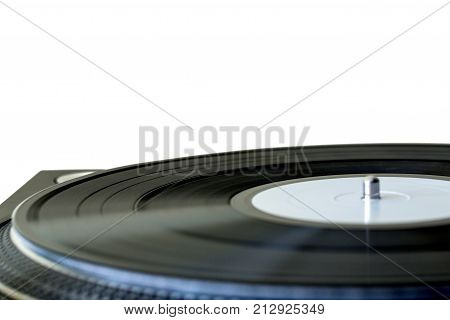 Record turntable gramophone vinyl gramophone record blank vinyl close up