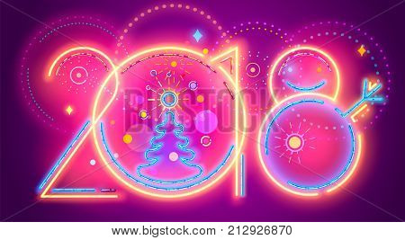 Colorful New Year line numera. Vector illustration of colorful neon 2018 New Year numerals on purple background.
