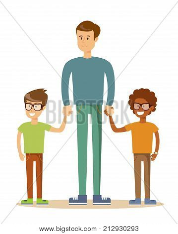 3 brothers isolated on white. Brotherly love. Stock vector illustration for poster, greeting card, website, ad,